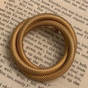 Vintage Textured Twisted Gold Tone Brooch